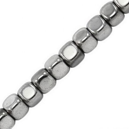 HEMATITE CUBE BEADS 4mm SILVER PLATED ~40cm