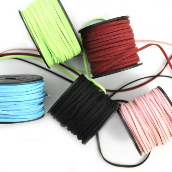 ARTIFICIAL SUEDE CORD FLAT 3mm  /  ~30 meters