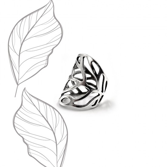 RING LEAF WIREFRAME SILVER PLATED