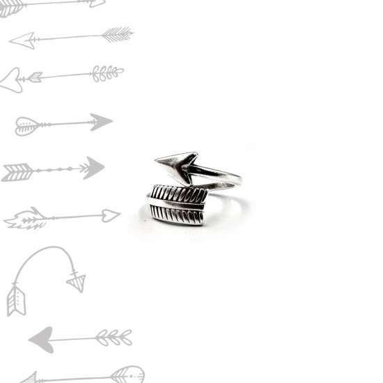 RING WITH ARROW SHAPE SILVER PLATED