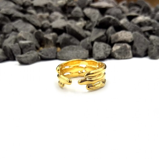 RING WITH BABOO DESIGN GOLD PLATED