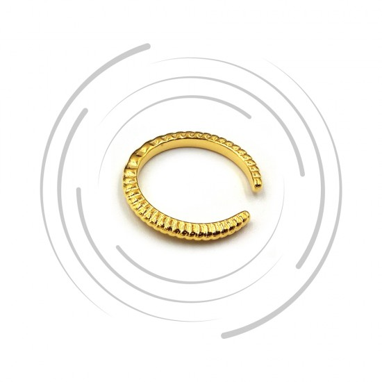 RING WITH WAVY PATTERN GOLD PLATED