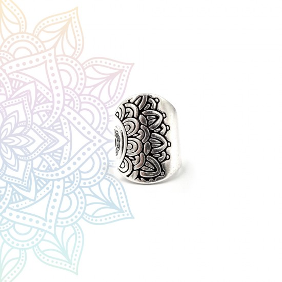 ETHNIC RING WITH MANDALA DESIGN SILVER PLATED