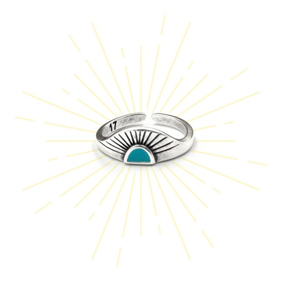 RING RISING SUN WITH TURQUOISE ENAMEL SILVER PLATED