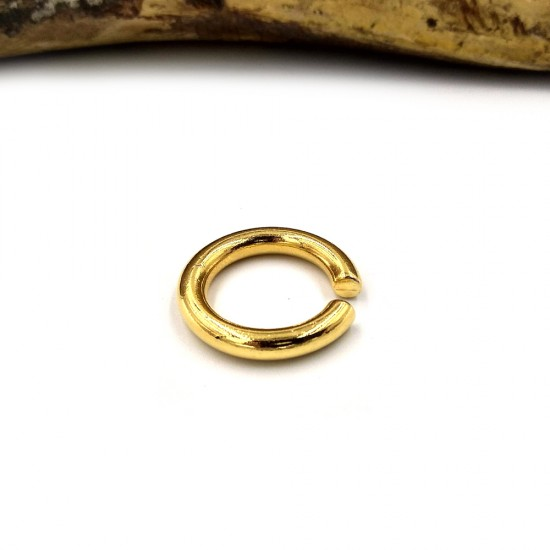 RING ROUND CYLINDRICAL GOLD PLATED