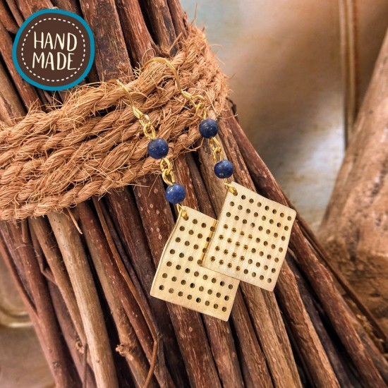 HANDMADE EARRINGS RHOMBUS WITH HOLES AND LAPIS BEADS