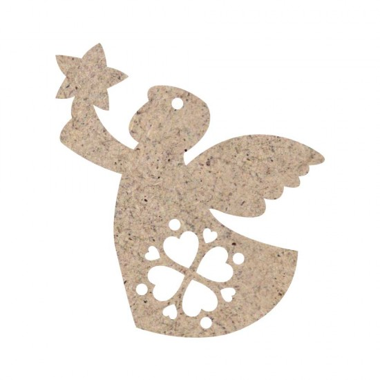 CHRISTMAS ORNAMENT ANGEL WITH STAR AND HEARTS UNPAINTED MDF 10x11cm