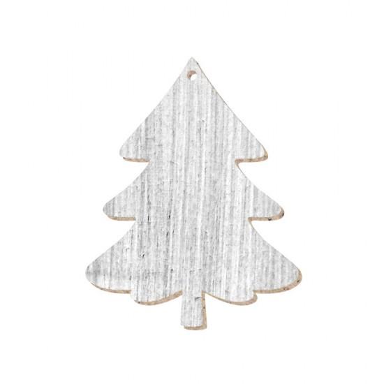 CHRISTMAS ORNAMENT TREE PAINTED (SHABBY CHIC) MDF 8X10cm