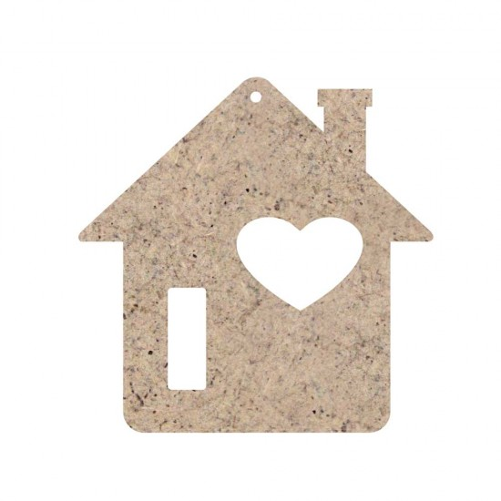 CHRISTMAS ORNAMENT HOME WITH HEART UNPAINTED MDF 10X10cm