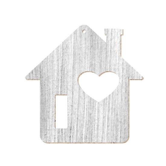 CHRISTMAS ORNAMENT HOME WITH HEART PAINTED (SHABBY CHIC) MDF 10X10cm
