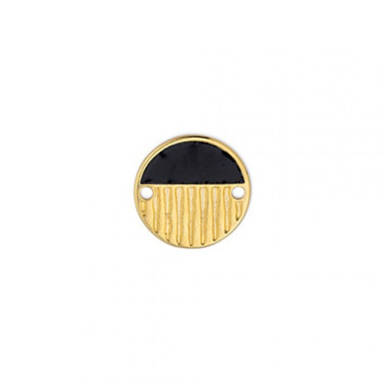 METALLIC ROUND CAST WITH BLACK ENAMEL AND RELIEFS LINES 16,1mm GOLD PLATED
