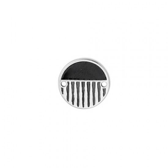 METALLIC ROUND CAST WITH BLACK ENAMEL AND RELIEFS LINES 16,1mm SILVER PLATED