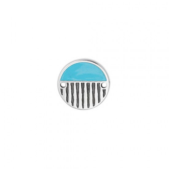 METALLIC ROUND CAST WITH TURQUOISE ENAMEL AND RELIEFS LINES 16,1mm SILVER PLATED