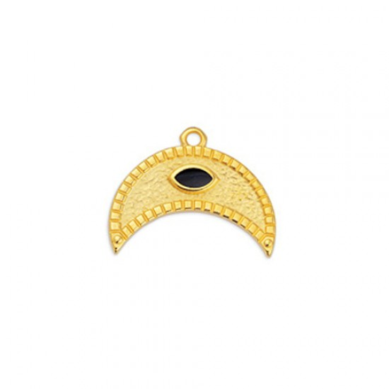METALLIC MOON PENDANT WITH CASTON AND BLACK ENAMEL 22,5x17,5mm GOLD PLATED