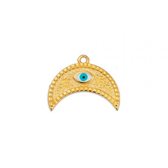 METALLIC MOON PENDANT WITH CASTON AND WHITE ENAMEL WITH EYE 22,5x17,5mm GOLD PLATED