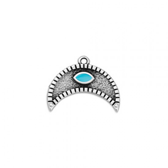 METALLIC MOON PENDANT WITH CASTON AND TURQUOISE ENAMEL 22,5x17,5mm SILVER PLATED