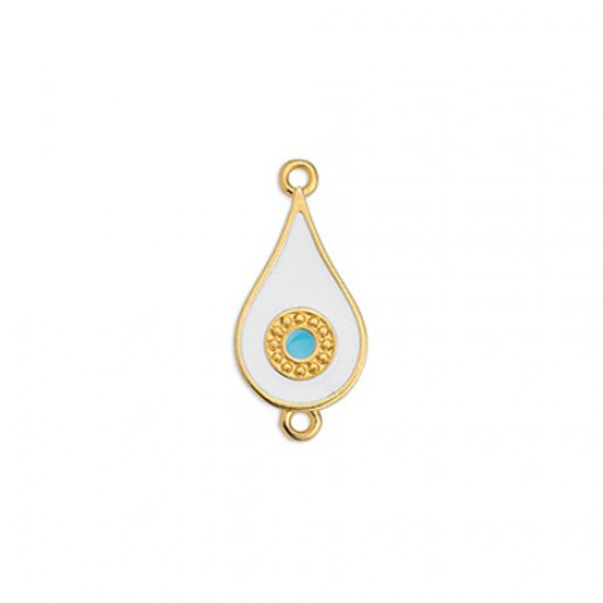 METALLIC CAST IN GOLD PLATED DROP WITH WHITE ENAMEL AND EYE AND 2 RINGS 11,6X24,9mm