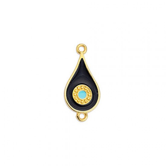 METALLIC CAST IN GOLD PLATED DROP WITH BLACK ENAMEL AND EYE AND 2 RINGS 11,6X24,9mm