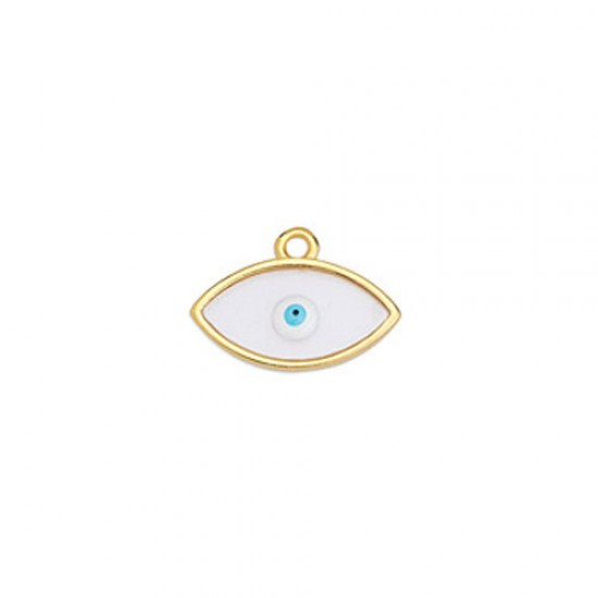 METALLIC CHARM IN GOLD PLATED OUTLINE WITH TRANSPARENT ENAMEL AND EYE 17,1X12mm