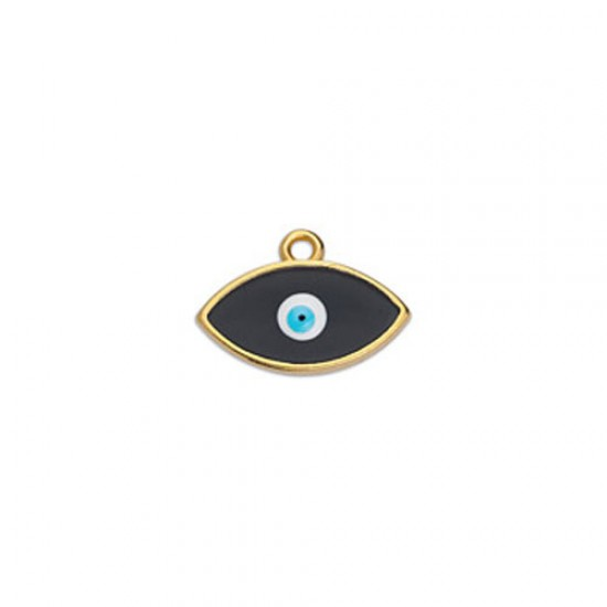 METALLIC CHARM IN GOLD PLATED OUTLINE WITH BLACK ENAMEL AND EYE 17,1X12mm