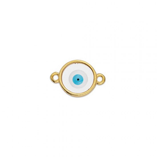 METALLIC CAST IN GOLD PLATED ROUND OUTLINE WITH TRANSPARENT ENAMEL AND EYE AND 2 RINGS 17,8X11,7mm