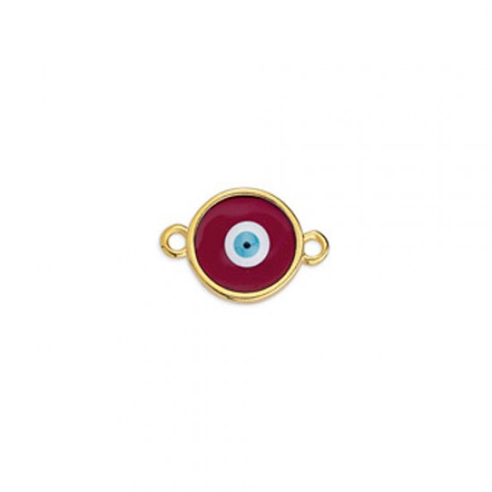 METALLIC CAST IN GOLD PLATED ROUND OUTLINE WITH DARK RED ENAMEL AND EYE AND 2 RINGS 17,8X11,7mm
