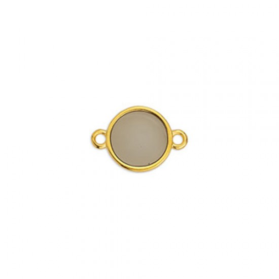METALLIC CAST IN GOLD PLATED ROUND OUTLINE WITH BROWN ENAMEL AND 2 RINGS 17,8X11,7mm