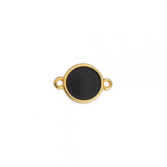 METALLIC CAST IN GOLD PLATED ROUND OUTLINE WITH BLACK ENAMEL AND 2 RINGS 17,8X11,7mm