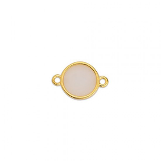 METALLIC CAST IN GOLD PLATED ROUND OUTLINE WITH WHITE OPAL ENAMEL AND 2 RINGS 17,8X11,7mm